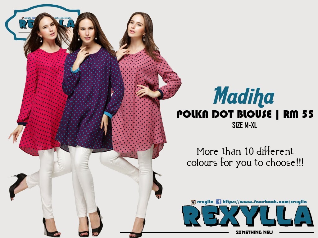 rexylla, polka dot blouse, madiha collection