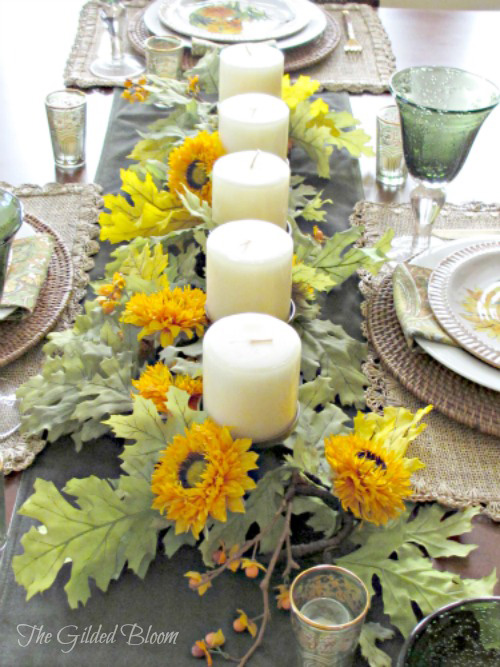 Sunflowers and Candles:  An Early Autumn Table