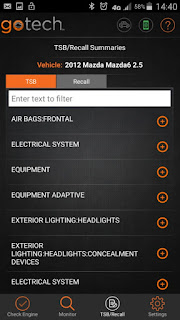 GoTech Bluetooth OBDII Diagnostic Tool recall screen