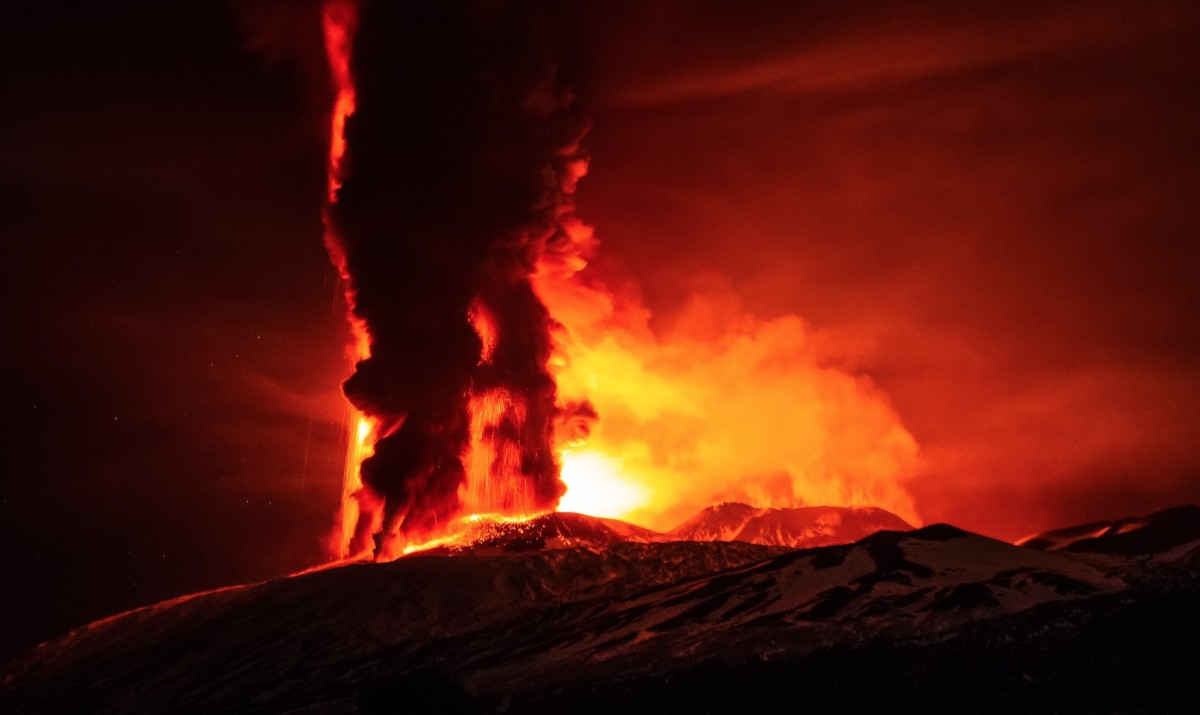 Mount Etna Europe's largest and most active volcano erupts huge plumes of ash and smoke hundreds...