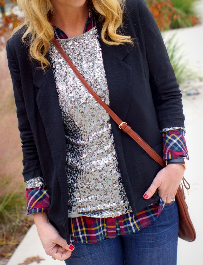 Sequins and Plaid Outfit Idea