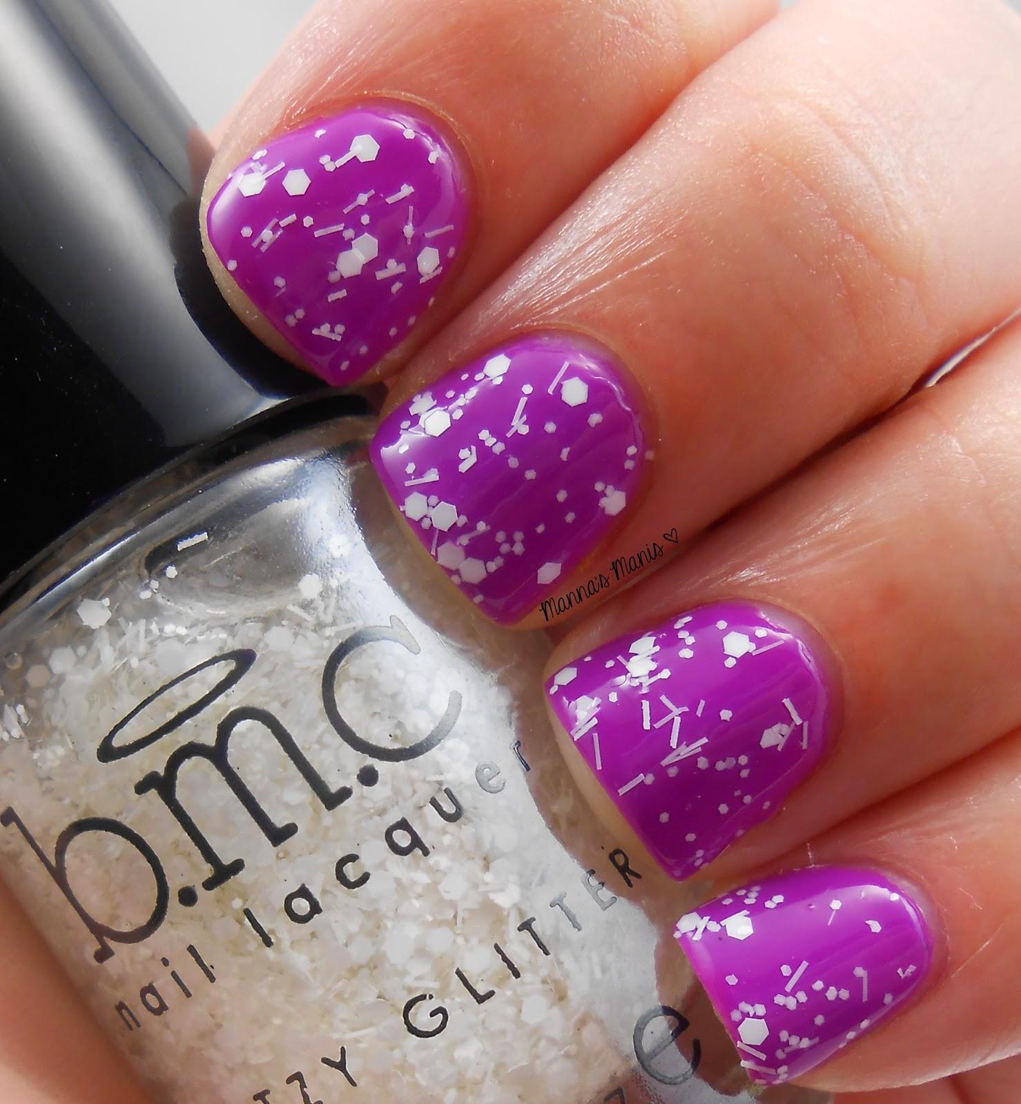 BMC champagne room, a white glitter nail polish