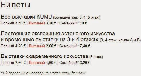 Художественный Музей KUMU. Цены