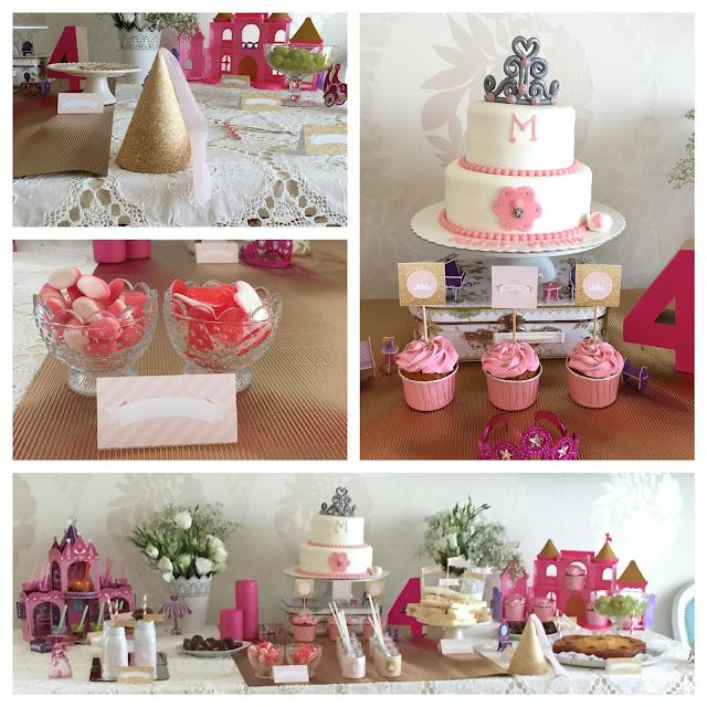 Decoração festa de princesa; bolo com coroa; festa de aniversário menina