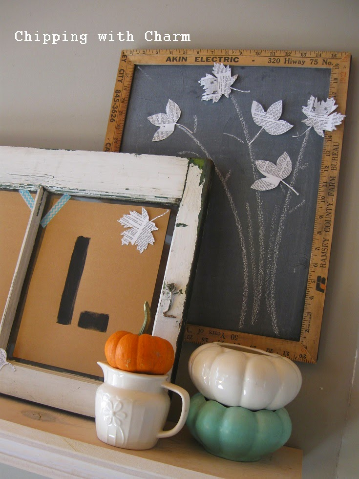 Chipping with Charm: Fall Mantel, Chalkboard Tree...http://www.chippingwithcharm.blogspot.com/