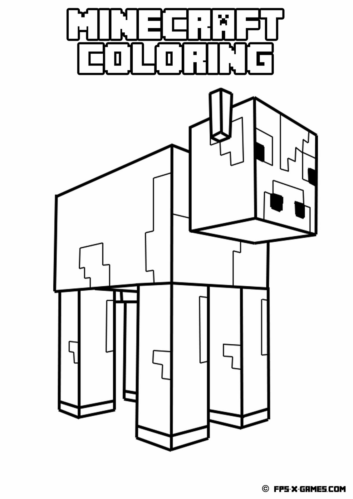 Printable minecraft coloring cow for Free printable minecraft coloring pages