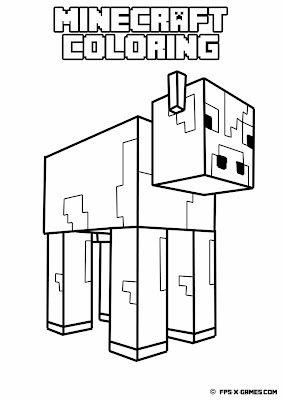 Printable Minecraft coloring - Cow