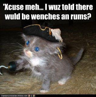 Xcuse meh... I wuz told there wuld be wenches an rums