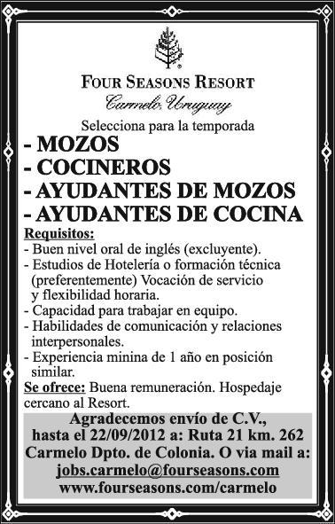 Conseguir trabajo en uruguay mozos cocineros ayudantes for Ofertas de ayudante de cocina