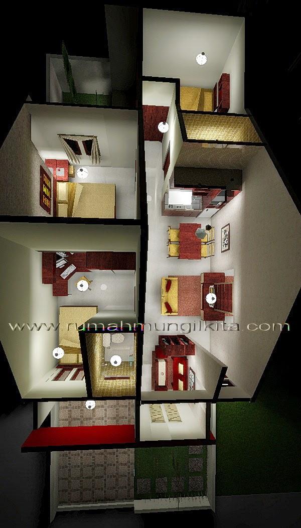 Renovasi rumah tipe 48 tanah 93 lebar 6 m - Denah rumah 3 dimensi setelah direnovasi
