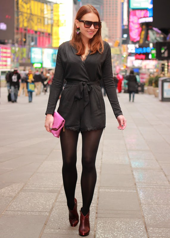 The Steele Maiden: Times Square NYC in lace romper and Loren Hope earrings