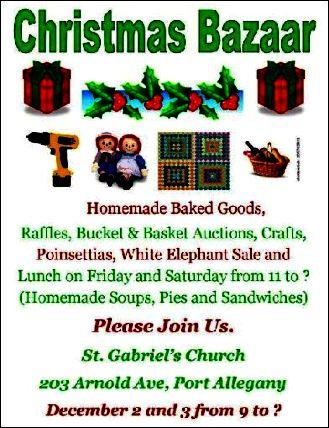 12-3 Christmas Bazaar, St. Gabriel's