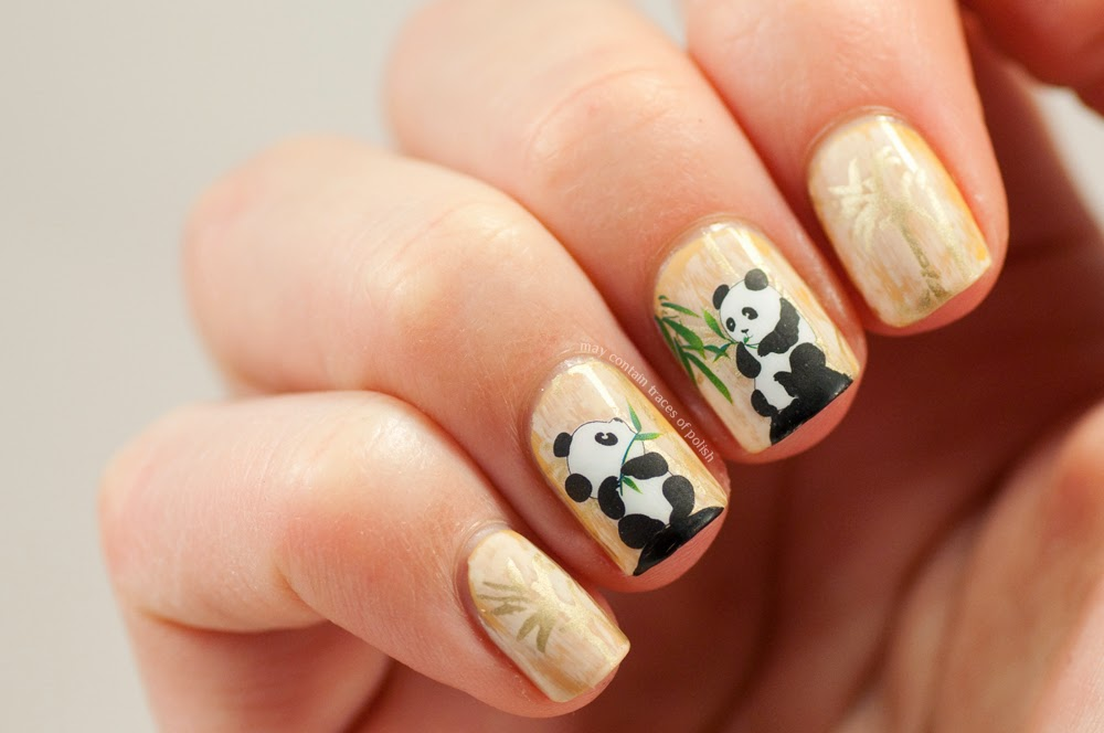 Panda and bamboo nail art may contain traces of polish nails are water decals that i bought from born pretty store and i decided to combine them with some discreet bamboo stamping using fauxnad plate m66 prinsesfo Gallery