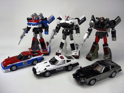 Takara Transformers Masterpiece Smokescreen, Prowl and Bluestreak
