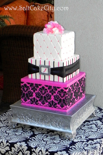Hot Pink And Black Wedding Cake - Vtwctr