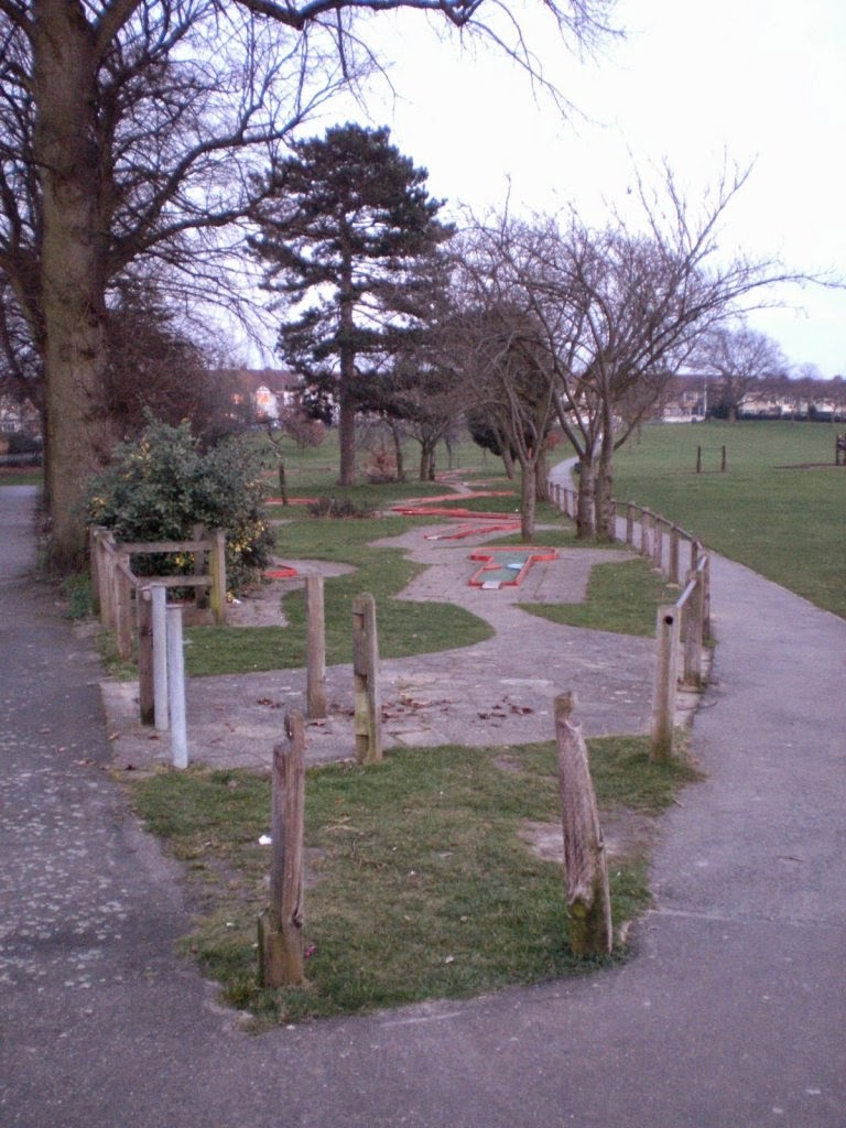Crazy Golf at Woodlands Park in Gravesend, Kent in February 2009