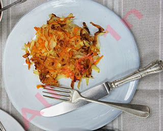 Egg-free root veg rosti with damson chutney recipe