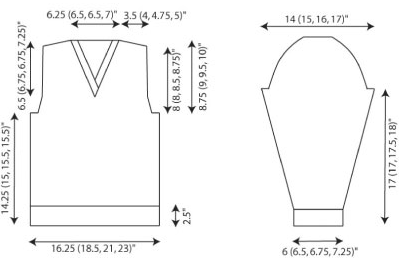 Knitting at large how to analyze a schematic part 1 for knitters its a sweater blueprint the schematic shows you the garment shape and gives you measurements for every section of the sweater malvernweather Choice Image