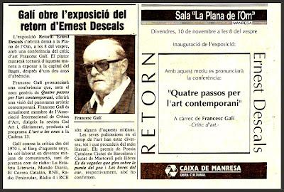 ARTE CONTEMPORANEO-ERNEST DESCALS-PINTOR-FRANCESC GALÍ-CONFERENCIA-PINTURA-MANRESA-