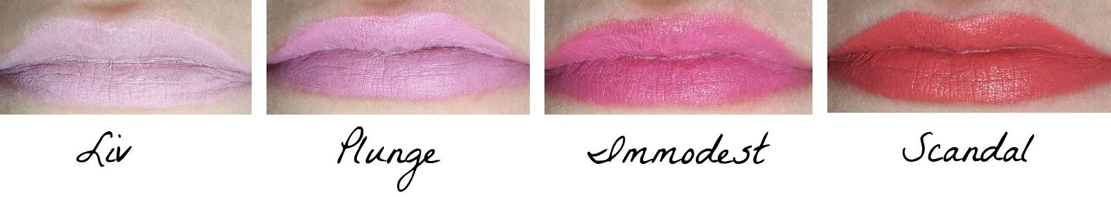 My Illamasqua lipsticks, Liv, Plunge, Immodest, Scandal, lip, swatches, beauty, Illamasqua, lipstick, make up, pink, review,