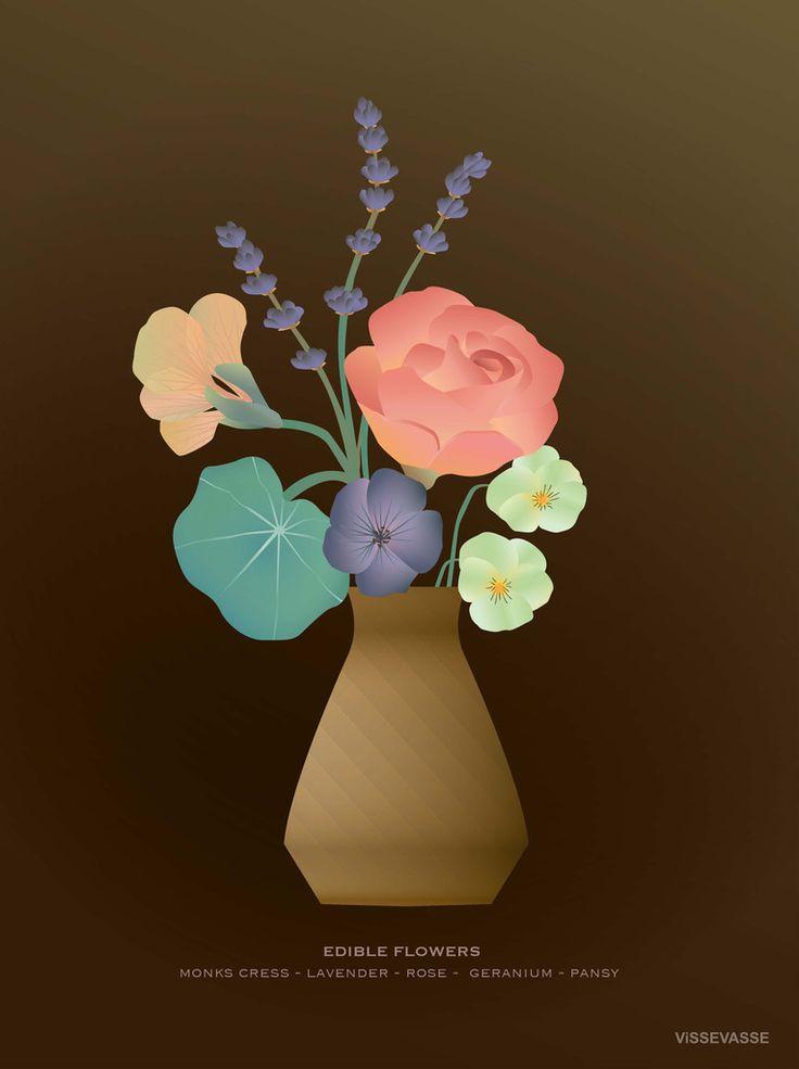 ViSSEVASSE og spiselige blomster som køkken motiv