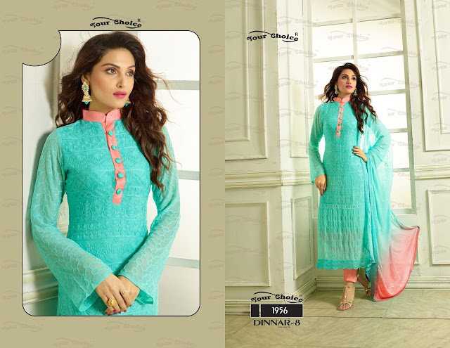 Dinnar Vol – 8 – Pure Chiffon Heavy Embroidery Work Dress Material