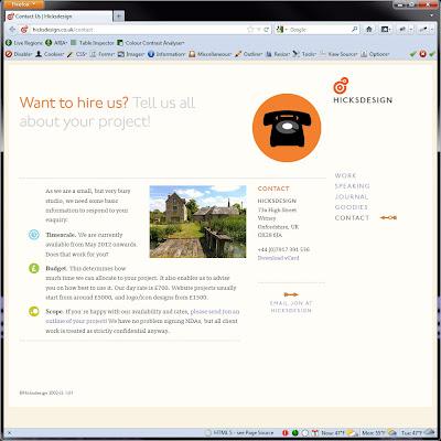 Screen shot of http://hicksdesign.co.uk/contact.