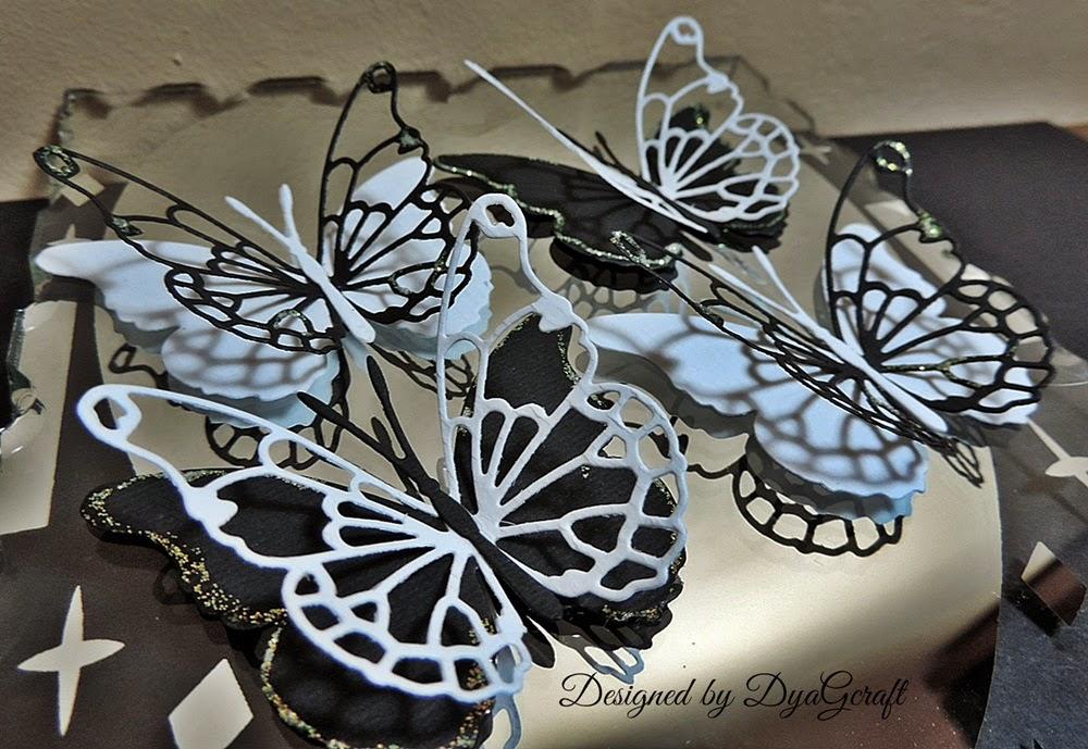 fluturi de nunta  alb negri handmade