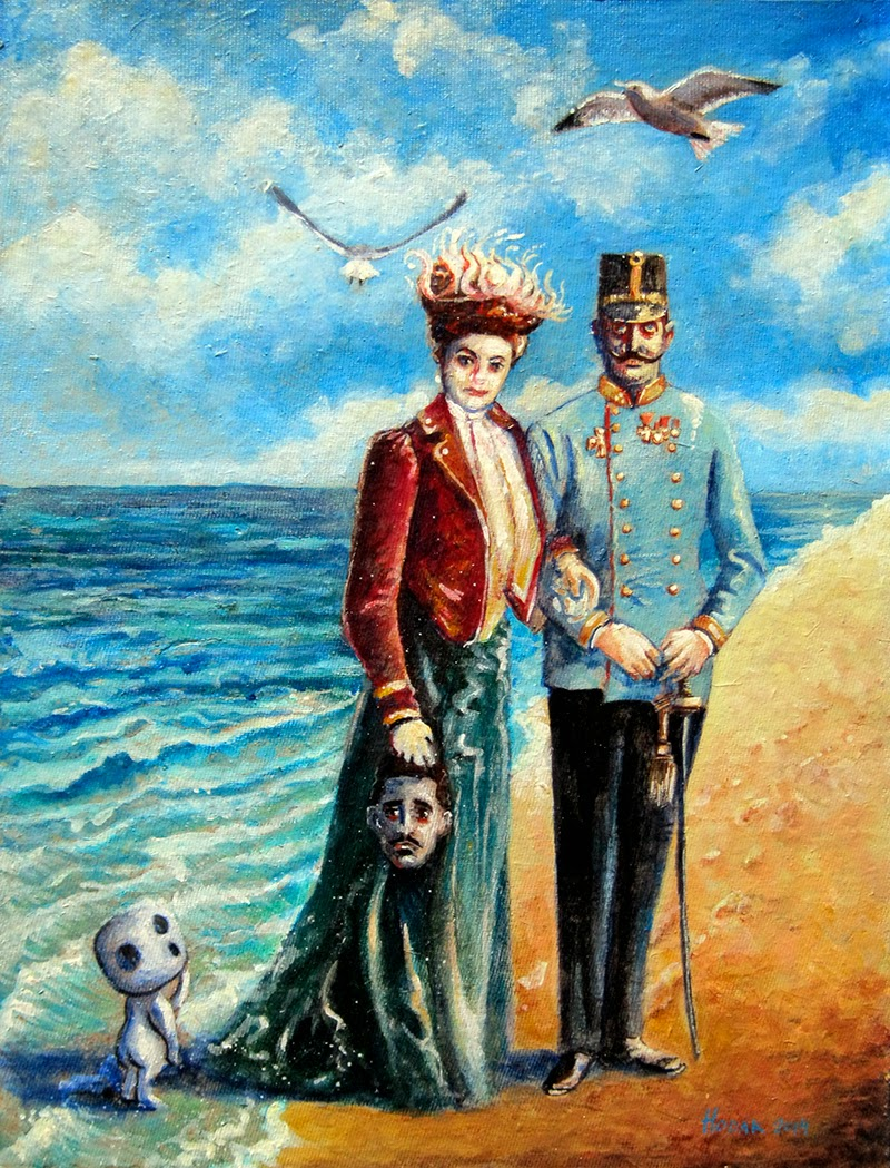 2. Franz and Sophie walking on the beach (Strand der toten), acrylic on cardboard, 34x26 cm, 2014.