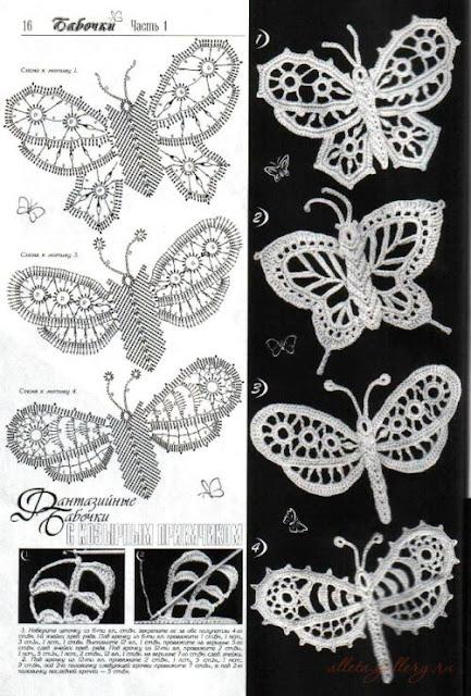 50 Mariposas, muchos patrones.   Crochet desde El Tabo.
