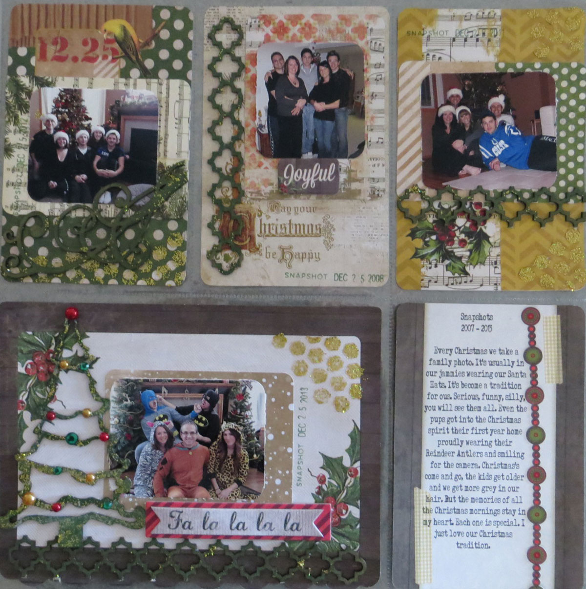 Merry and Bright Misc. Me Page by Lynn Shokoples featuring the  Christmas Collage Collection and Leaky Shed Chipboard