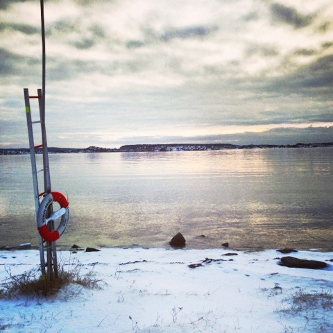 Coastline in sweden with snow and a life preserver flotation device