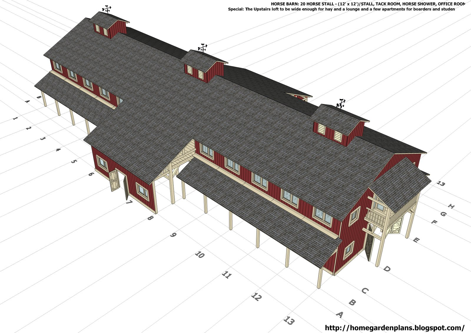 home garden plans: H20B1 - 20 Stall Horse Barn Plans - Large Horse ...