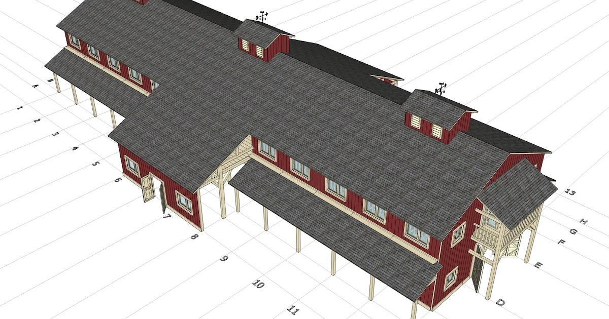 Home garden plans h20b1 20 stall horse barn plans for Horse barn designs free