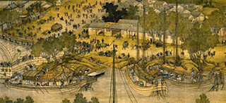 "Detail from the Song Dynasty (960 – 1279) painting ""Along the River During the Qingming Festival"""
