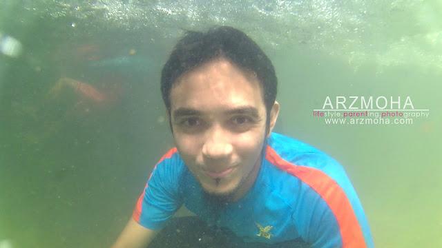 selfie dalam air, sjcam, kualiti gambar sjcam, action cam, taman rimba pulau pinang,