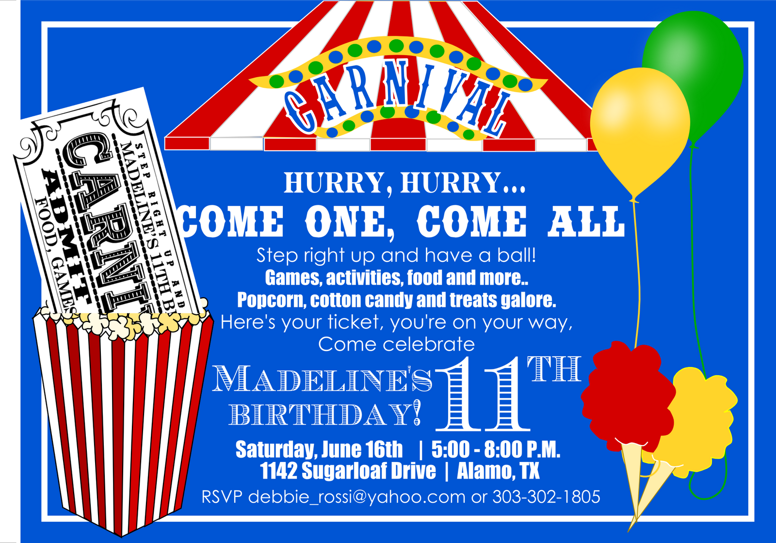 carnival ticket birthday invitations  invitations cards ideas, Birthday invitations