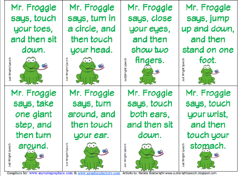 Free Worksheets following directions worksheet preschool : Straight Up Speech: Mr Froggie Says... An activity review ...