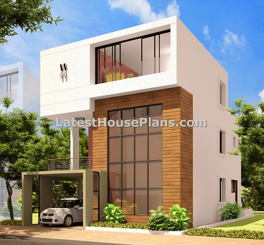 Modern triplex house outer elevation design in andhra for Home outer wall design