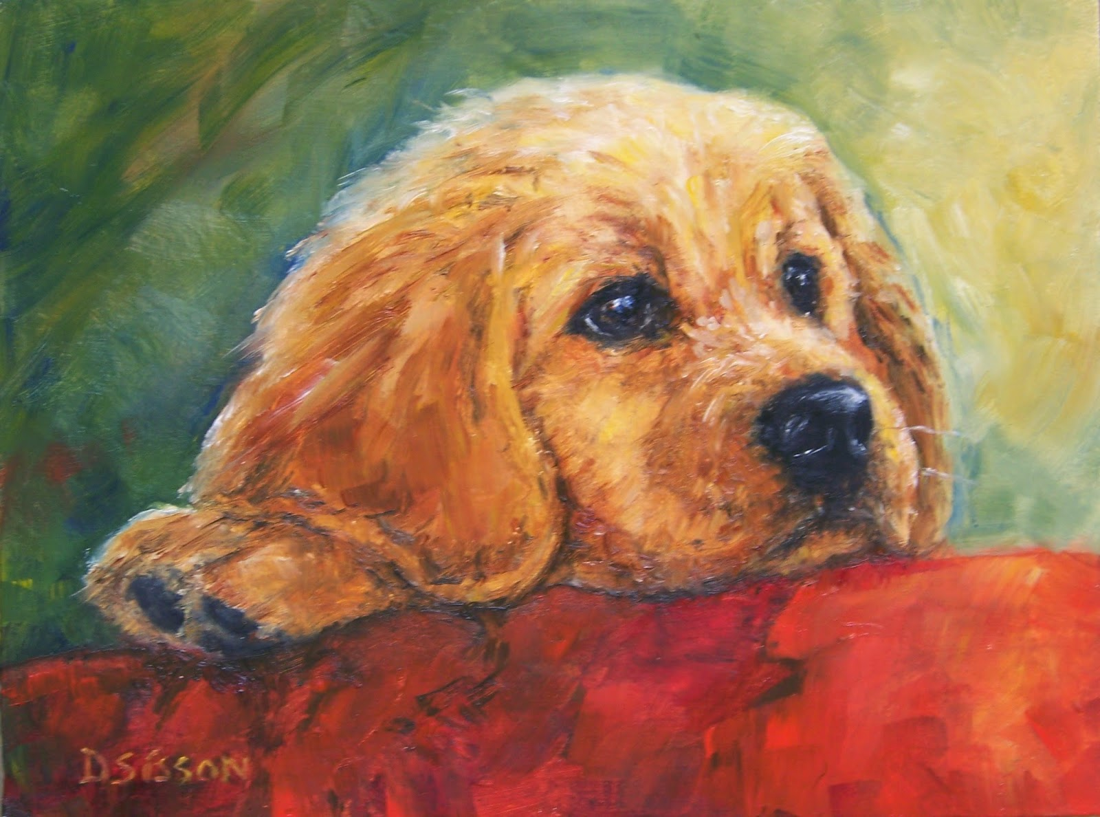 Daily painting projects golden christmas puppy oil for Dog painting artist