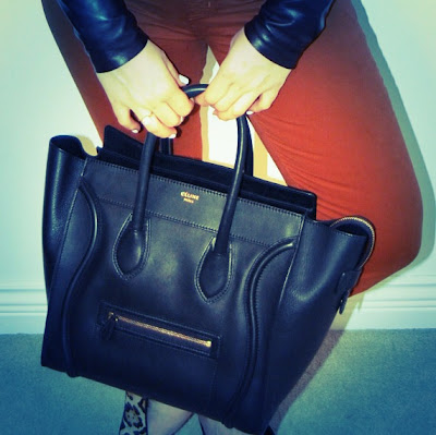 Danier leather shirt with J Brand 811 twills and a Celine mini luggage tote