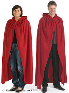 Red Hooded Halloween Cloak for adults from Theatrical Threads Ltd