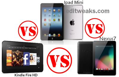 iPadMini versus Nexus7 vs Kindle Fire