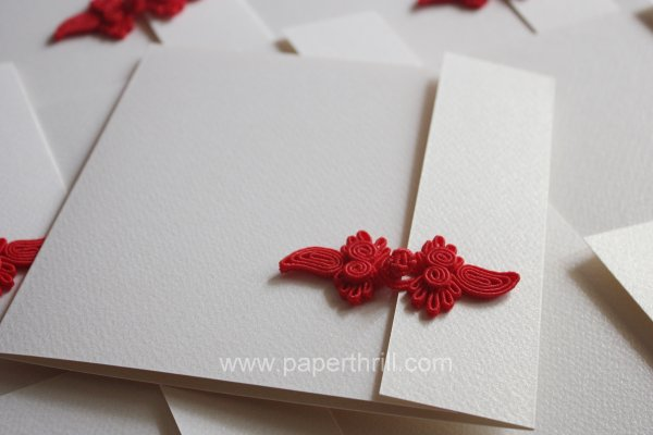 oriental knot wedding invitation card