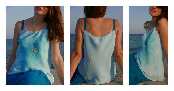 Escote fruncido para una blusa reciclada