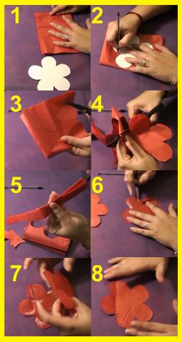 Pétalos de la flor de papel de seda