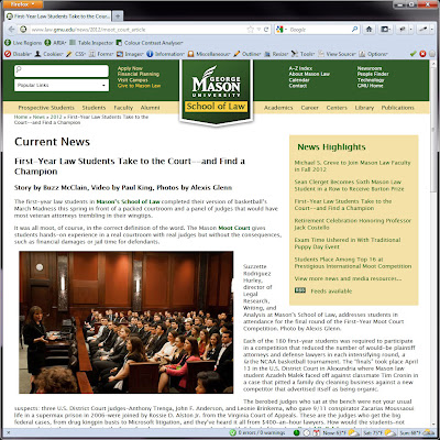 Screen shot of http://www.law.gmu.edu/news/2012/moot_court_article.