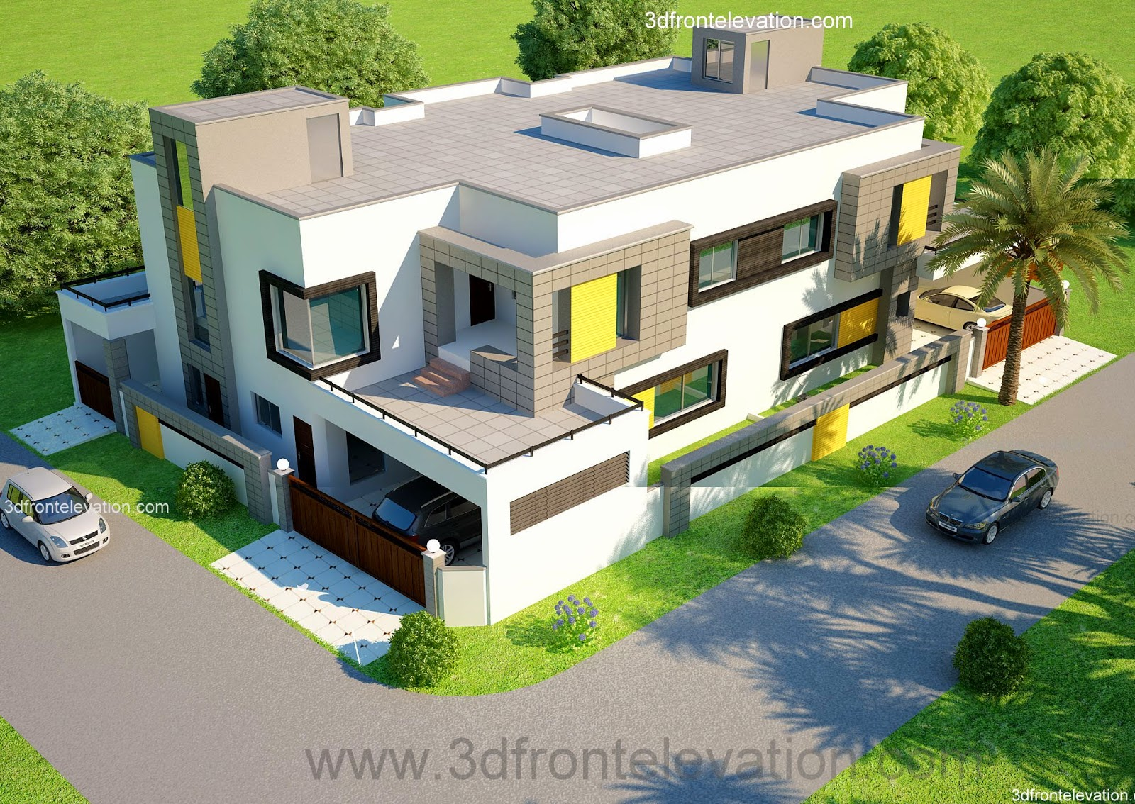 3d Front Elevation Corner House : D front elevation kanal corner plot house