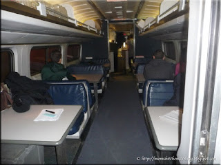 dining area of dining car on Amtrack train