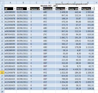 Modelo 347 por trimestres para el 2012 con Excel.